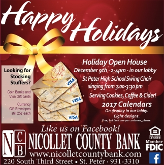 Happy Holidays, Nicollet County Bank, Saint Peter, MN