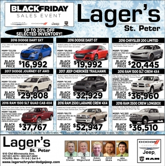Up to 20% off selected inventory, Lager's St. Peter, Saint Peter, MN