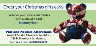Order your Christmas gifts early!, Pins And Needles Alterations, Mankato, MN
