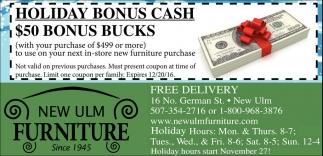 Holiday Bonus Cash