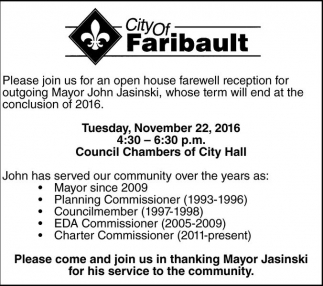 Reception for outgoing Mayor John Jasinski