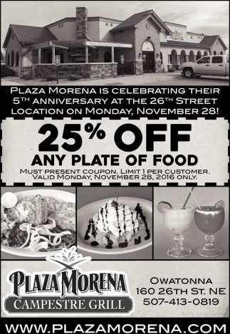 25% OFF Any Plate of Food