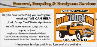 Junk Truck Mn | Removal, Recycling & Handyman Services | Services ...