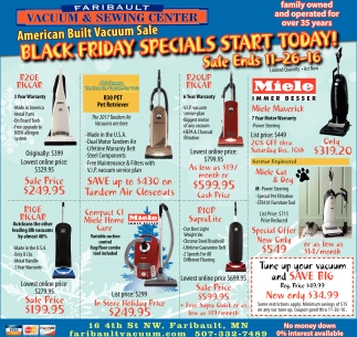 Black Friday Specials Start Today, Faribault Vacuum And Sewing Center, Faribault, MN