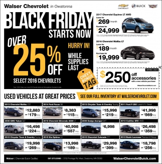 25% off select 2016 Chevrolets, Walser Chevrolet In Owatonna ...