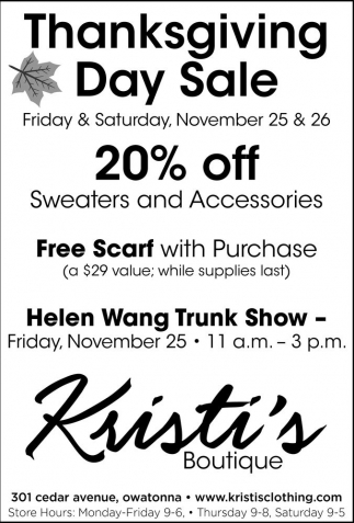 Ads For Kristi's Boutique in Southern Minn