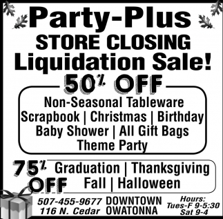 Liquidation Sale 50% off!