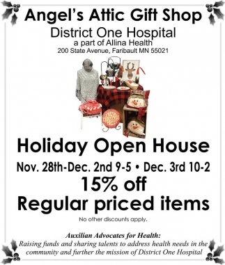 Holiday Open House, Angel's Attic Gift Shop, Faribault, MN