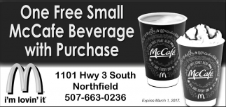 One Free Small McCafe Beverage with Purchase, Mcdonald's Northfield, Northfield, MN