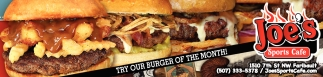 Try our burger of the month!