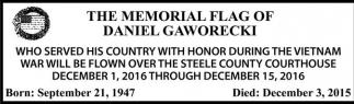 THE MEMORIAL FLAG OF DANIEL GAWORECKI