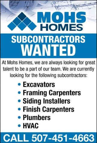 Subcontractors Wanted