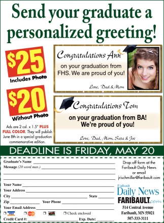 Send your graduate a personalized greeting!
