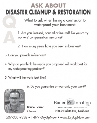 ASK ABOUT DISASTER CLEANUP & RESTORATION