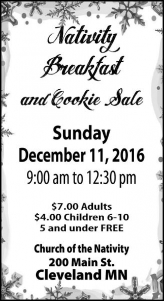 Nativity Breakfast and Cookie Sale
