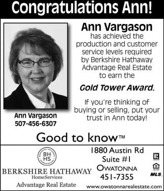 Congratulations Ann