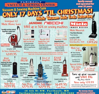 Only 17 Days 'til Christmas!, Faribault Vacuum And Sewing Center, Faribault, MN