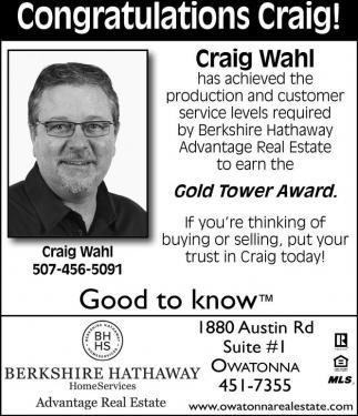 Congratulations Craig