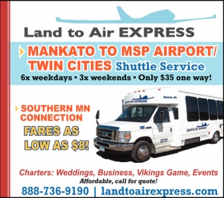 Mankato to Msp Airport/Twin Cities, Land To Air Express, Mankato, MN