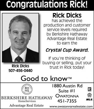 Congratulations Rick
