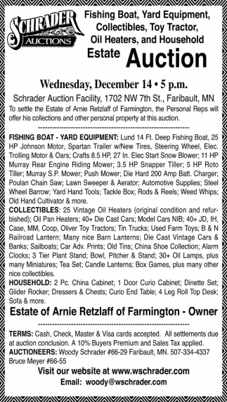 Fishing Boat, Yard Equipment, Collectibles, Toy Tractor, Oil Heaters, and Household