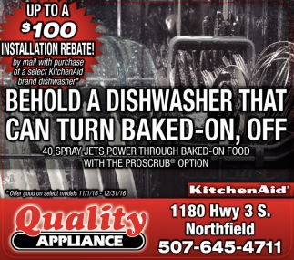 Up to a $100, Quality Appliance, Faribault, MN