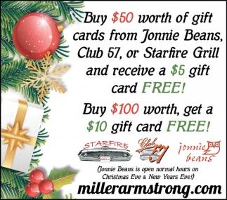 Buy $100 get $10 gift card free
