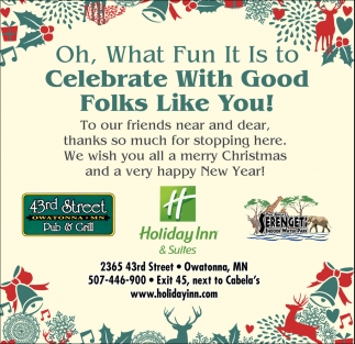 Celebrate With Good Folks Like You!, 43rd Street Pub And Grill, Owatonna, MN