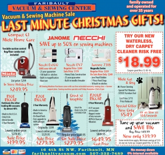 Last Minute Christmas Gifts, Faribault Vacuum And Sewing Center, Faribault, MN