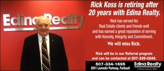 Rick Koss is retiring after 20 years with Edina Realty