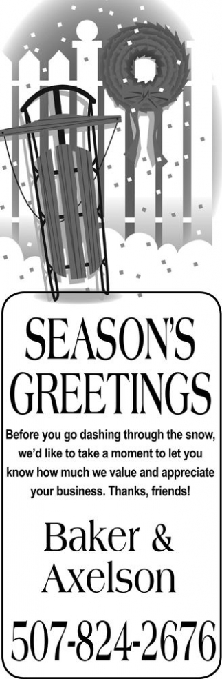 SEASON'S GREETINGS, Baker And Axelson, Wanamingo, MN
