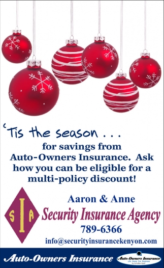 Ask how you can be eligible for a multi-policy discount, Security Insurance Agency, Kenyon, MN