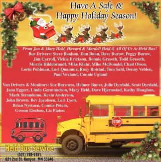 Have A Safe & Happy Holiday Season!
