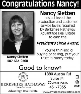 Congratulations Nancy