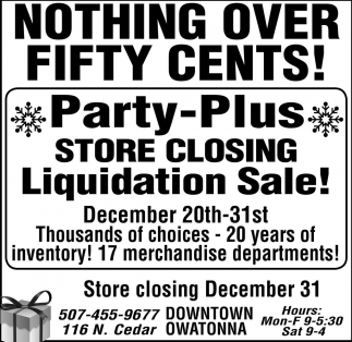 Store Closing Liquidation Sale, Party Plus, Owatonna, MN