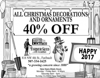 All Christmas Decorations and Ornaments 40% OFF