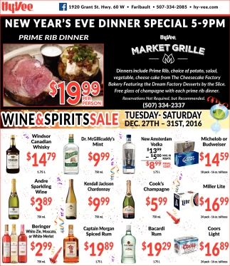 Year's eve dinner special, Hy-vee Market Grille, Faribault, MN