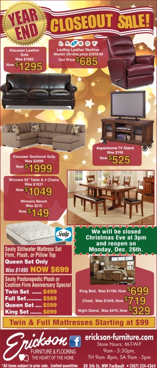 Year End Closeout Sale!