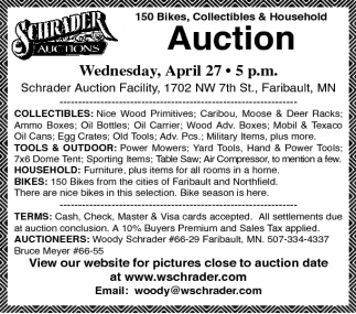 150 Bikes, Collectibles & Household