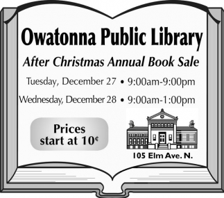 After Christmas Annual Book Sale, Owatonna Public Library, Owatonna, MN