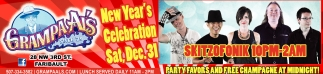 New Year's Celebration Sat, Dec. 31