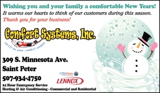Wishing you and your family a comfortable New Years!, Comfort Systems, Inc., Saint Peter, MN