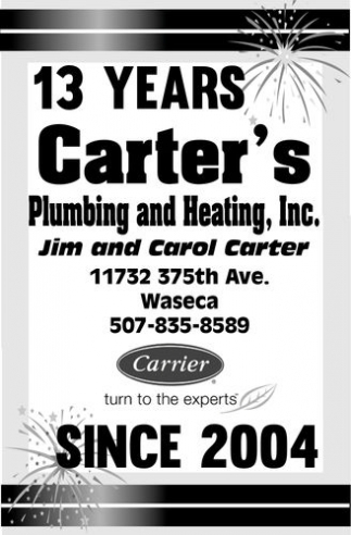 13 years since 2004, Carter's Plumbing And Heating, Inc, Waseca, MN