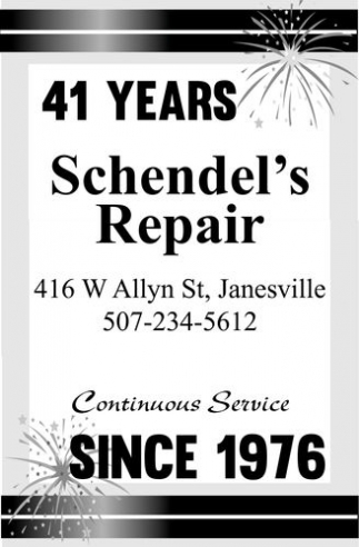 41 years since 1976, Schendel's Repair, Janesville, MN