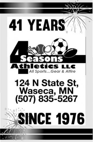 41 years since 1976, 4 Seasons Athletics Llc, Waseca, MN
