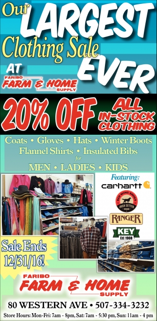 20% off all in-stock clothing, Faribo Farm And Home Supply, Faribault, MN