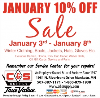 January 10% off Sale, C And S Supply, Mankato, MN
