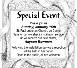 New Pastor Allyson Bowman, St. Paul Lutheran Church - Le Center, Le Center, MN