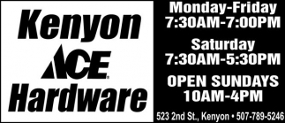Ads For Kenyon Ace Hardware in Southern Minn