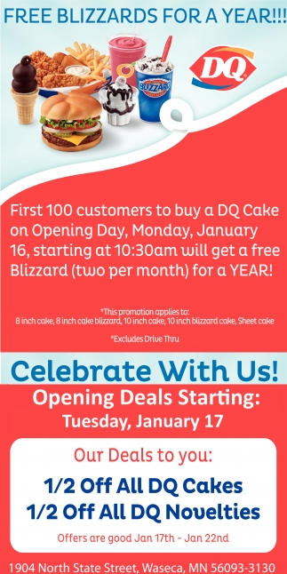 Free Blizzards for a year!!
